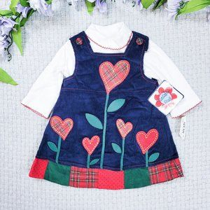 Samantha Says blue corduroy floral heart dress
